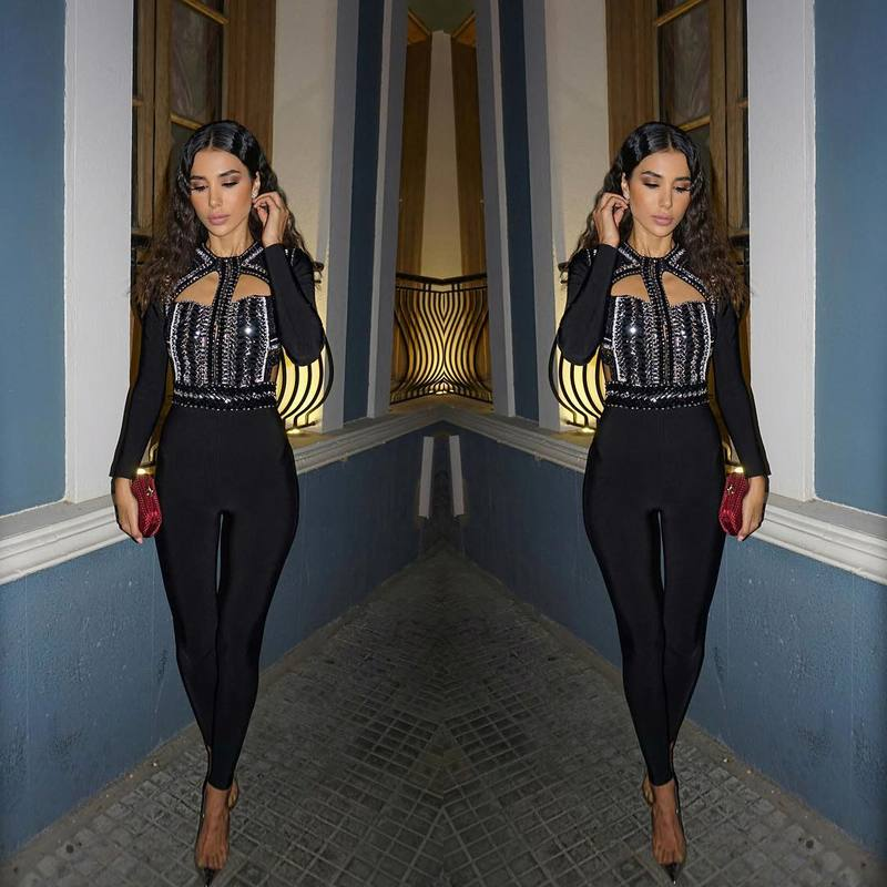 wholesale new Jumpsuits Black Beading Long sleeves Stretch tight Fashion luxury celebrity bandage Rompers (H1737)