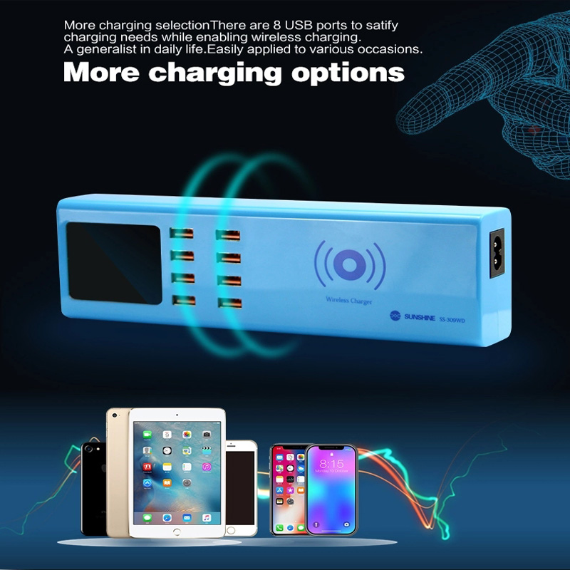 Power Tool Accessories Straightforward Wireless Charger 8 Usb Ports Charger Ss-309wd 5v 1a Digital Display Charging Port For Iphone Ipad Samsung Huawei Xiaomi Etc Hand & Power Tool Accessories Diversified Latest Designs