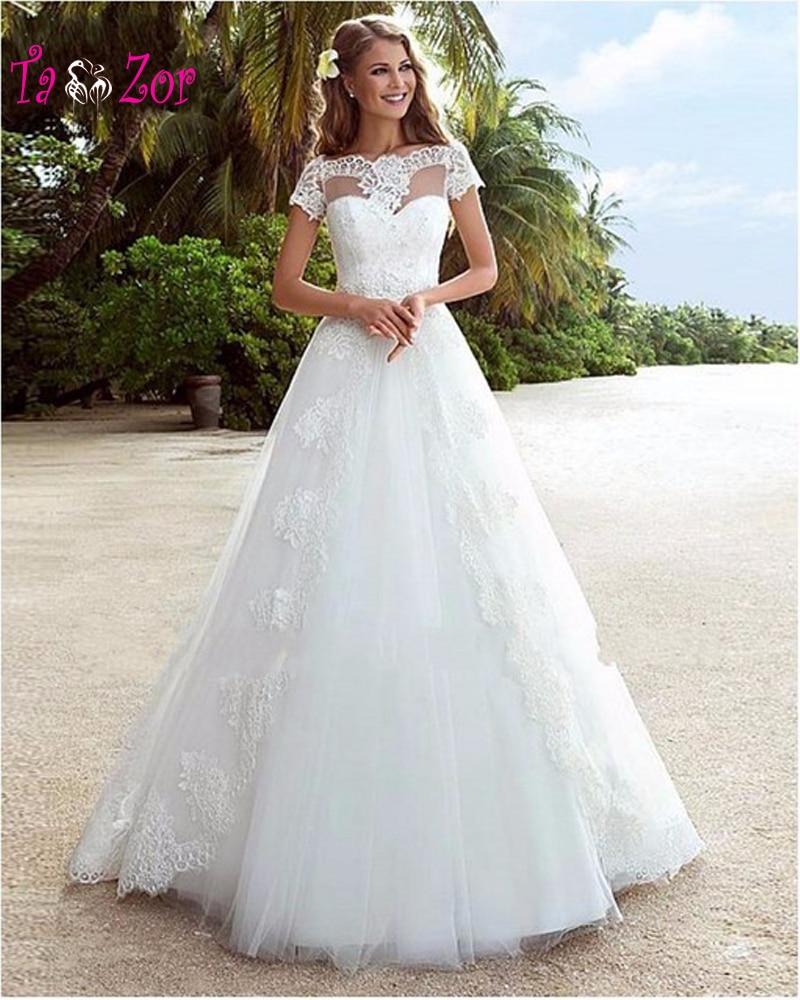 Aliexpress Com Buy Vestido De Noiva 2017 A Line Beach: Taoo Zor 2017 Elegant A Line Beach Wedding Dresses Popular