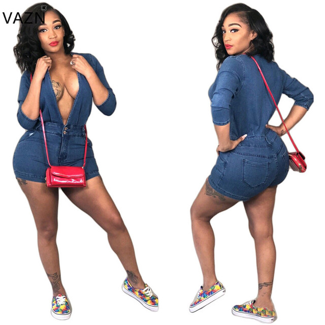 47a31d8ee0c VAZN 2018 Autumn Hot Sexy Deep V-Neck Playsuits Women Full Sleeve Solid Denim  Playsuits