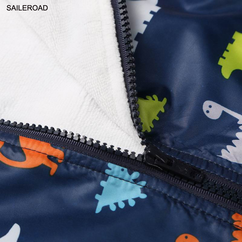 SAILEROAD Dinosaur Print Children Boys Girls Jacket Coat Winter Kids Outerwear Clothes Waterproof Windproof Baby Boys's Clothing