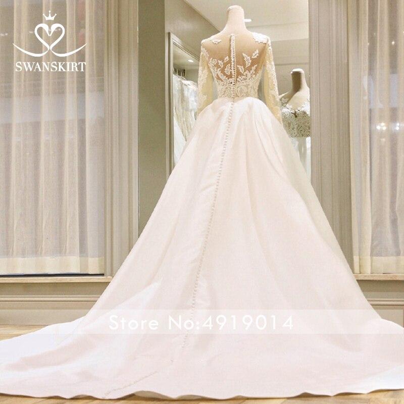 Image 5 - Swanskirt Scoop Satin Wedding Dresses2019 Appliques Long Sleeve A Line Chapel Train Princess Bride Gown Vestido de Noiva I140-in Wedding Dresses from Weddings & Events