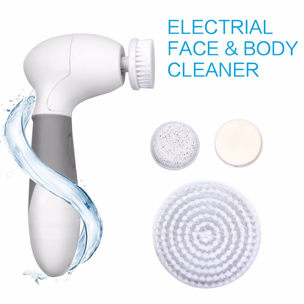 Waterproof Facial Cleansing Brush Body Scrubber Microdermabrasion Exfoliator Deep Clean Device with 4 Brush Heads touchbeauty 3 in1 rotating facial cleansing brush set with 3 replacement brush heads 2 speed settings with storage box tb 0759a