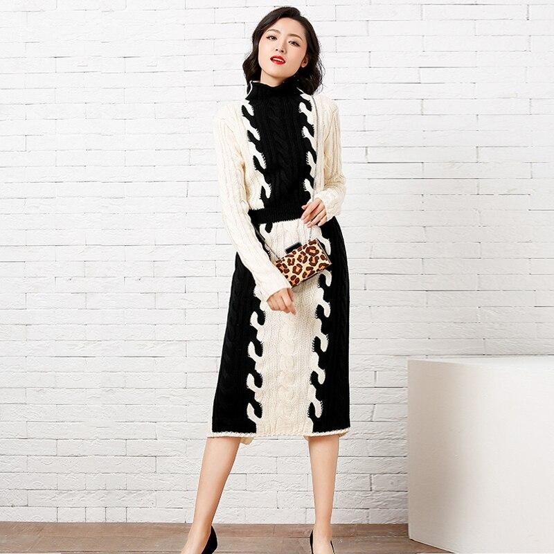 Hiver À Femmes Robe Haute Tweed Piste Épaississement Élégante Longues Col Mince 2018 Roulé Robes Manches Swester Kaki Qualité Casual 7qwr8wI5F