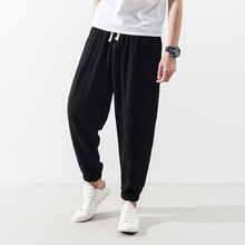 M~3XL New Men's Clothing The spring and autumn Japanese retro male pants elastic waist cotton loose jeans casual Haren pants