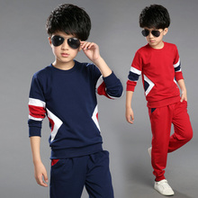 Boy Patchwork Blouse Children Striped Clothes Sets Boys Sport Blouse Boy Sets Coat + Pants 2 Pcs 100% Cotton Clothing Set