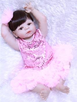 Full silicone reborn dolls22inch 55cm brown hair wig blue/brown eyes optional bebe real reborn bonecas kids gift dolls