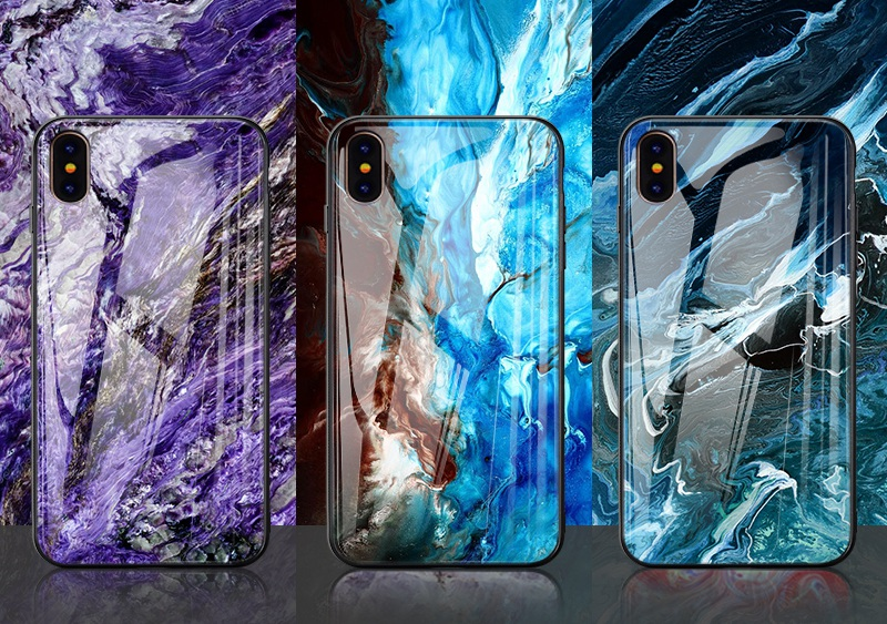 TOMKAS Luxury Marble Phone Case for iPhone X 10 Tempered Glass PC Agate Back Cover Silicone Soft Edge Coque Case for iPhone X (25)