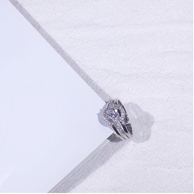 100% Real Solid 925 Sterling Silver Rings for Women High Luxury Fashion 2-in-1 Vintage White Crystal  Silver Wedding Ring