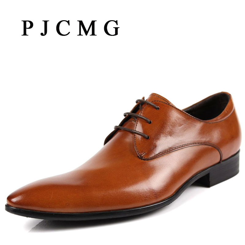 PJCMG Hot Sale Fashion High Quality Genuine Leather Men Oxfords, Lace-Up Business Oxford Breathable Dress Wedding Men Shoes