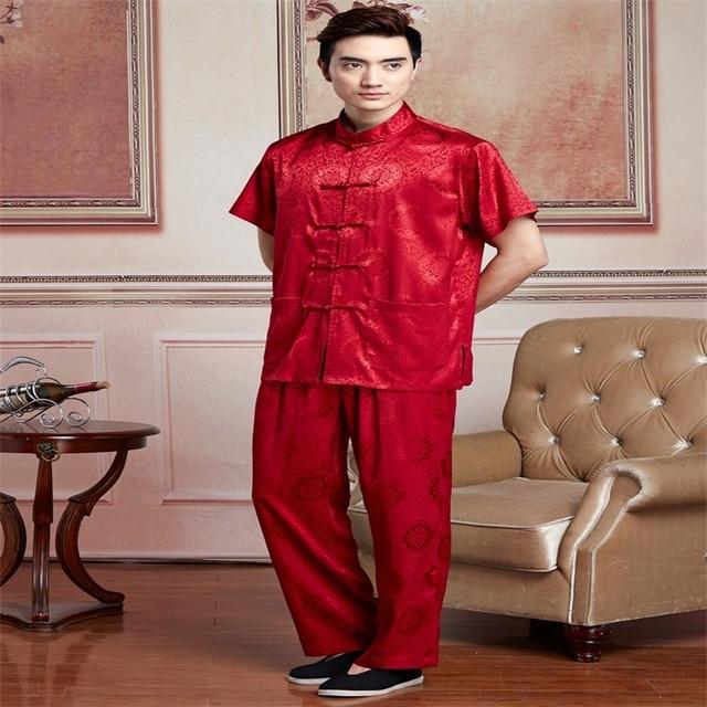 Burgundy Chinese Men Tai Chi Uniform Traditional Silk Satin Kung fu Suit  Short Sleeve Clothing SizeM 00a52bc7e