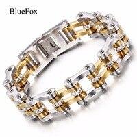 Zircon 316L Titanium Stainless Steel Men S Fashion Bracelet Bangles Chic Bicycle Hand Chain Wrist Band