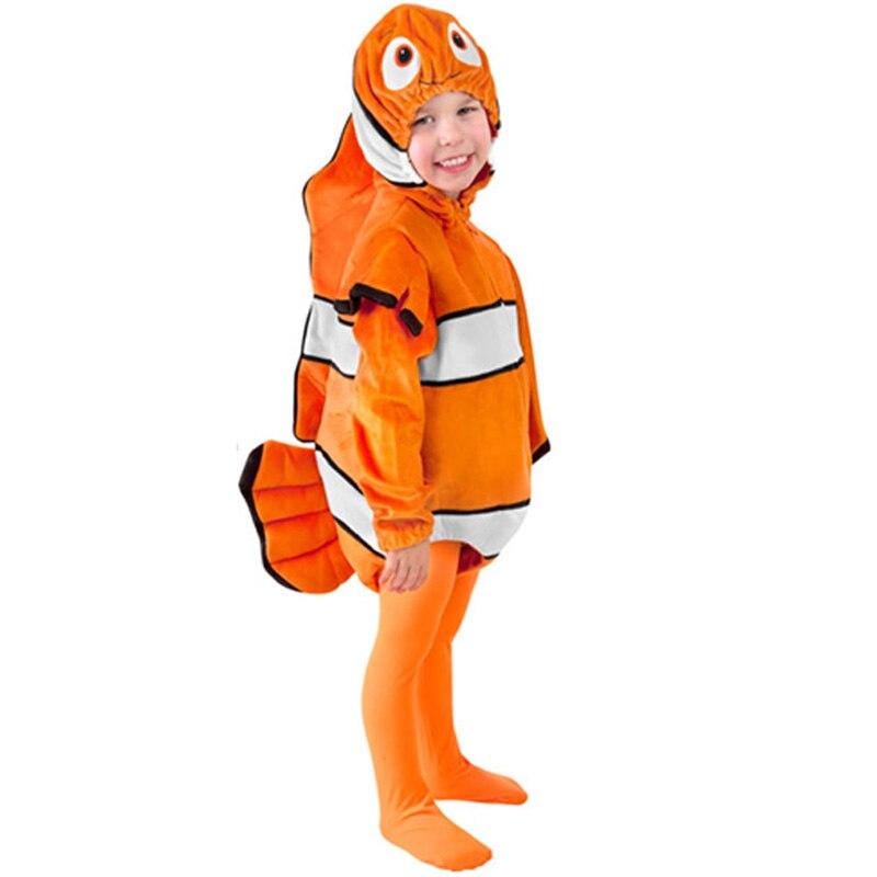 Child Clown Fish Nemo Costume Child Marine Animal Costumes Kids Ocean Fish Halloween Party Costume