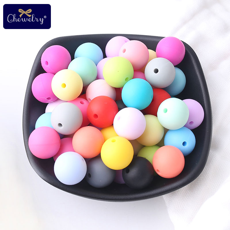 12mm  40pc Silicone Beads Baby Teething Can Chew Round Beads DIY Teething Necklace BPA Free Hot Sale Food Grade Teethers