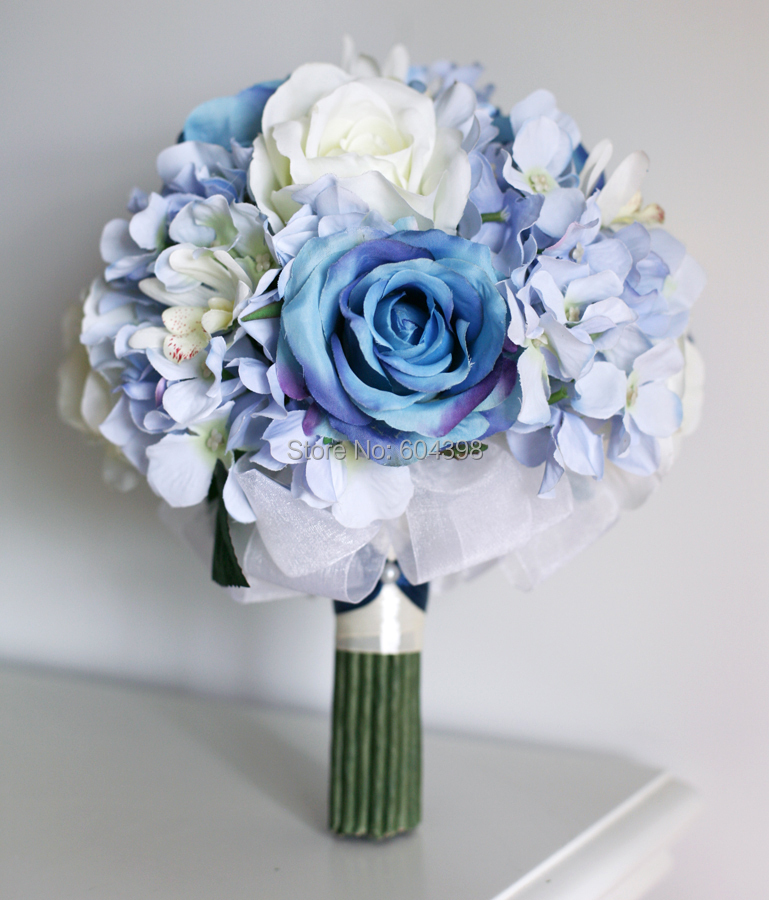 Bouquet Blu Sposa.Us 69 9 Hand Made Unique Blue Bridal Flower Bouquet Silk Rose And Hydrangea Brooch Bouquet Keepsake Bouquet With Groom S Boutonniere In Hand Made