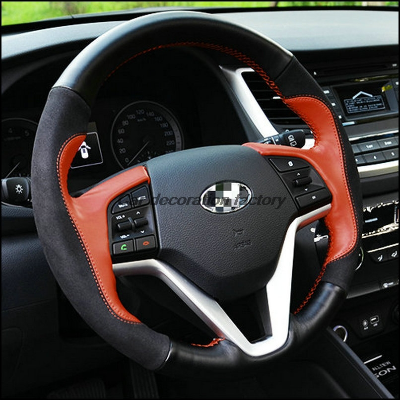 for hyundai tucson 2015 2016 leather steering wheel covers car accessories two kinds of color. Black Bedroom Furniture Sets. Home Design Ideas
