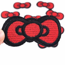 Wholesale 10PCS Red Bow tie Parches Embroidery Iron on Patches for Clothing DIY Stripes Clothes Stickers Sewing on Appliques(China)