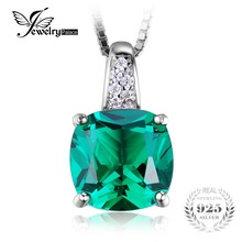 JewelryPalace Cojín 3.4ct Verde Creado Nano Ruso Solitario Esmeralda Colgante Plata 925 Nueva Moda Sin Cadena