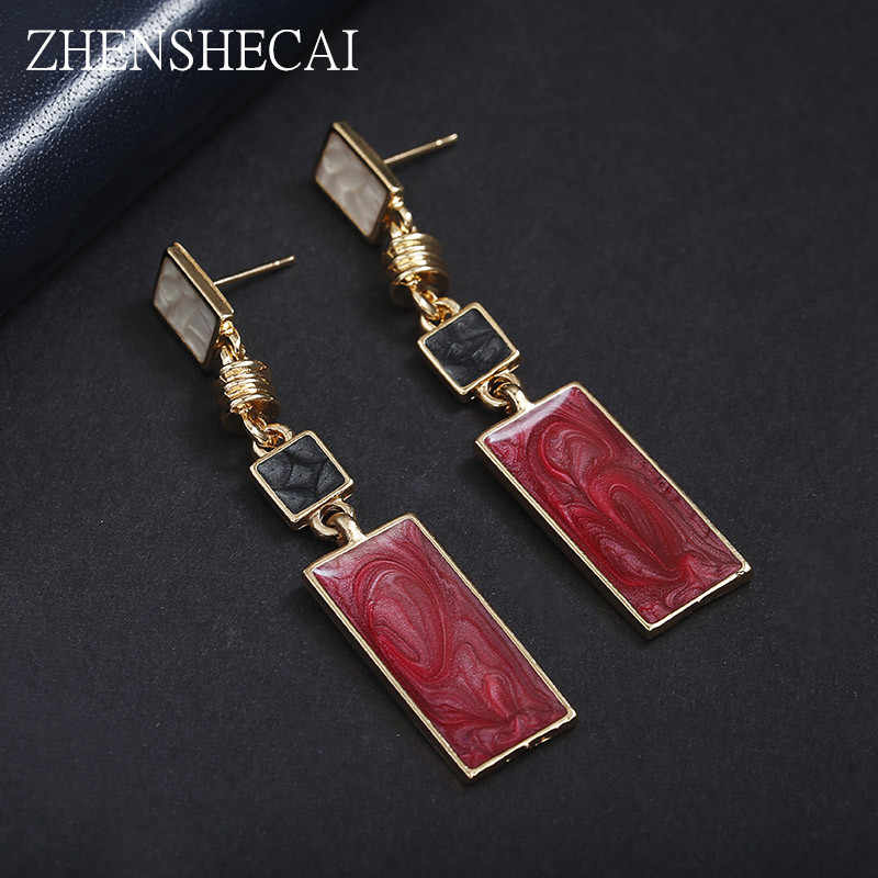 Fashion Design Geometry GOLD Color Alloy red Enamel Drop Earrings For Women Long Earrings On Christmas/Valentine's Day