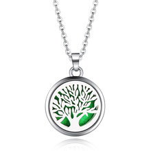 Tree Of Life Aroma Box Necklace Magnetic Stainless Steel Aromatherapy Essential Oil Diffuser Perfume Box Locket Pendant Jewelry(China)