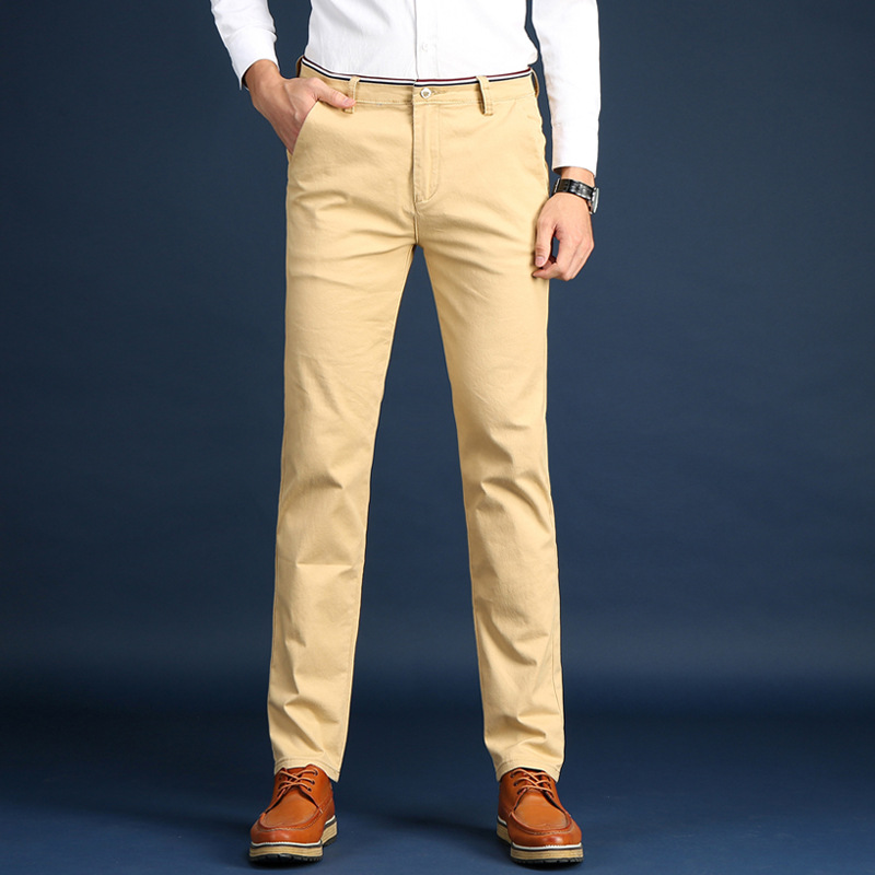 2018 new mens casual pants high-end stretch Slim business small straight casual cotton wild trousers tide