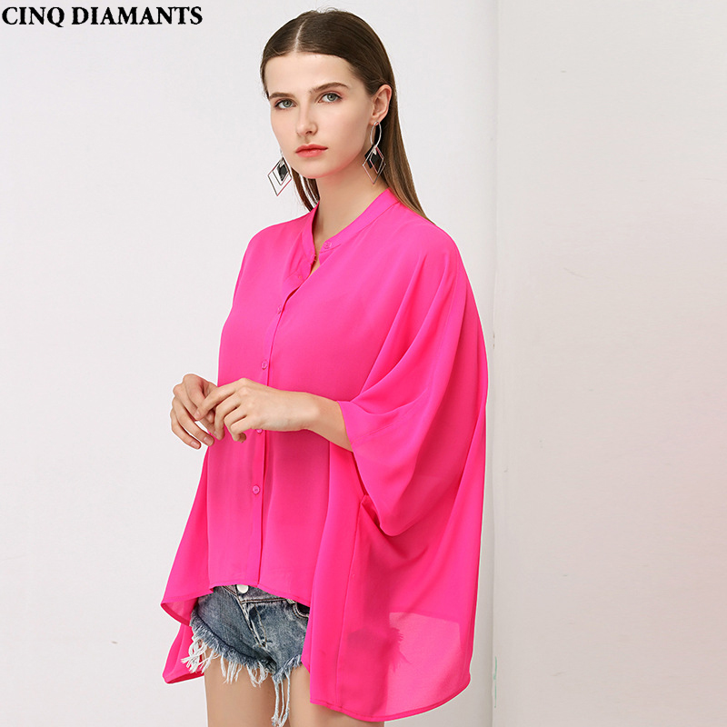 CINQ DIAMANTS Chiffon Blouse Women High Quality Solid Color Bright Rose Red Special Tailoring Half Batwing Sleeve Vintage Elegan