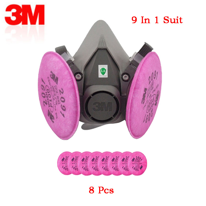 3M6200 N95 9in1 Dust Mask Painting With 2091 P100 Filter Anti-particle Dust Industrial Anti-PM2.5 Paint Protective Half Mask