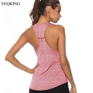 VEQKING Sleeveless Racerback Yoga Vest Sport Singlet Women Athletic Fitness Sport Tank Tops Gym Running Training Yoga Shirts(China)