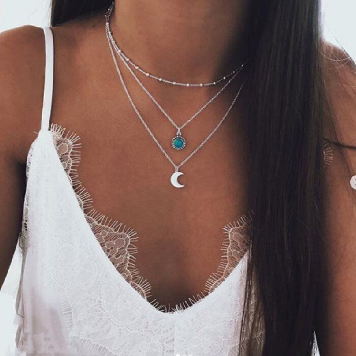 IF ME, винтажное многослойное ожерелье с кулоном из кристаллов, женские бусы золотого цвета, Лунная звезда, рога полумесяца, колье, ожерелье, ювелирное изделие, Новинка - Окраска металла: FDY957