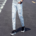 Summer 2016 Fashion Mens Jeans Ripped Light Blue Skinny Jeans Men Design Knee Holes Denim Pants Man Casual Slim jeans homme 40