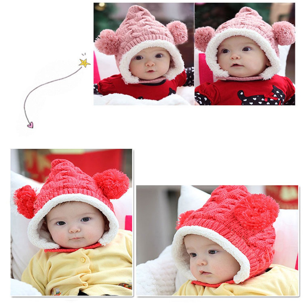 Hot Sale Baby Toddler Boy Girl Kids Winter hat Beanie Ear protectors Cap  Hot New Knitted Crochet Fur Ball Caps Earmuffs-in Hats   Caps from Mother    Kids on ... 84a760569d9b