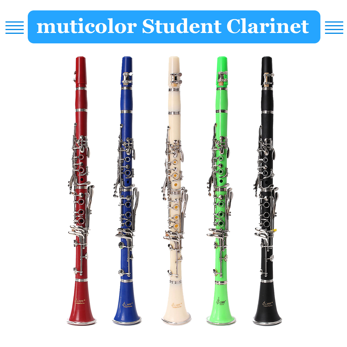 1pcs Muticolor Student Clarinet 17 Keys with Durable ABS Body with Reed Best For Beginner Woodwind Instruments Music Education