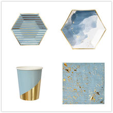 8pcs Gold Blue Foil Cloud Disposable Tableware Set Gold Blue For Wedding Birthday Decoration Paper Plate Cups Party Supplies(China)