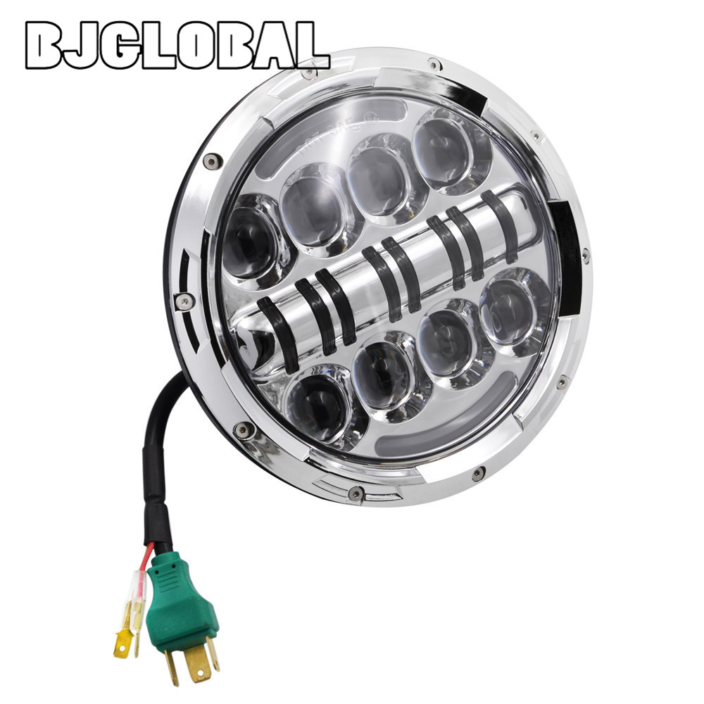 HL-040 7 80W LED Headlights Kit H4 H13 Hi/low Beam Auto Headlight With Angle Eye For Jeep Wrangler JK TJ for Hummer Defender