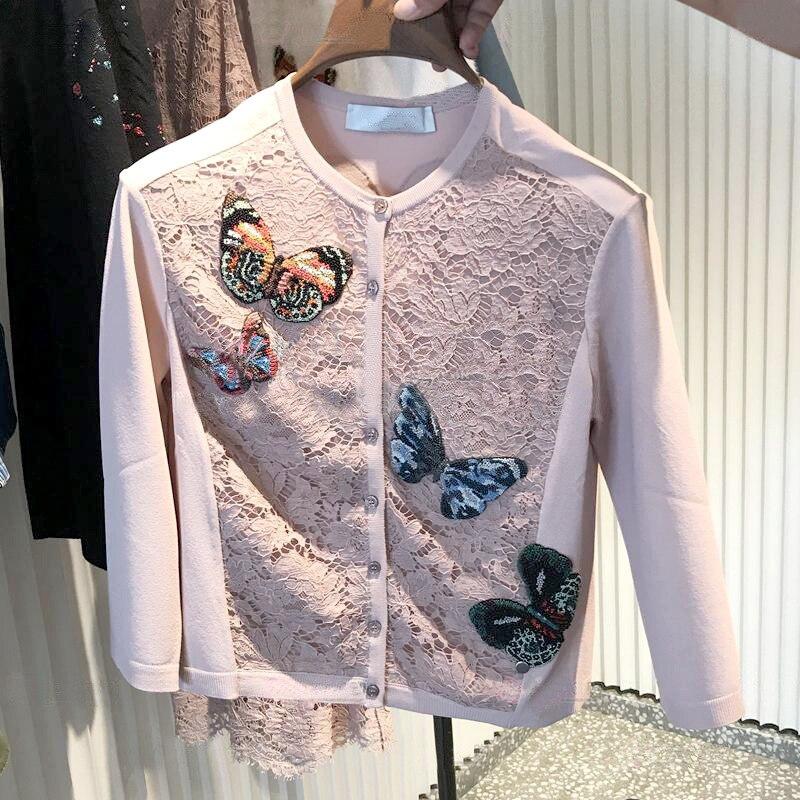 Perles Manteau Petit Age Doux Dentelle Cardigan Nouveau Mince Tricots De Papillons Ongles Duty Heavy Fleurs Chandail OSqq8xE7