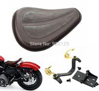 Brown Solo Seat Saddle Seat / Brackets gold Spring for Harley Dyna Fatboy Sportster Softail XL1200 XL883
