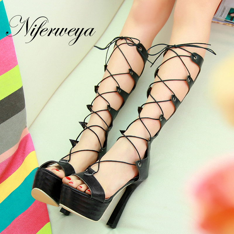 Big size 32-43 summer Rome style women shoes sexy Peep Toe Platform high heels fashion Lace-Up Gladiator sandals zapatos mujer plus size 34 44 summer shoes woman platform sandals women rhinestone casual open toe gladiator wedges women zapatos mujer shoes