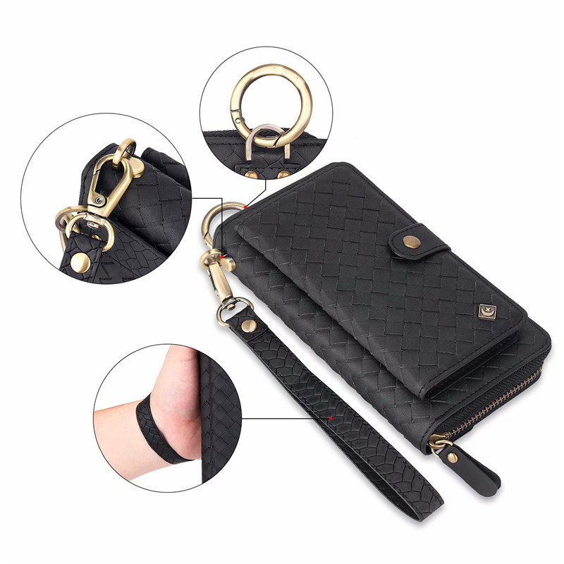 Multifunction Woven Pattern Zipper Flip Wallet PU Leather Stand Cover Case For iPhone XS Max XR X 10 7 6 6S 8 Plus Woman Handbag in Wallet Cases from Cellphones Telecommunications