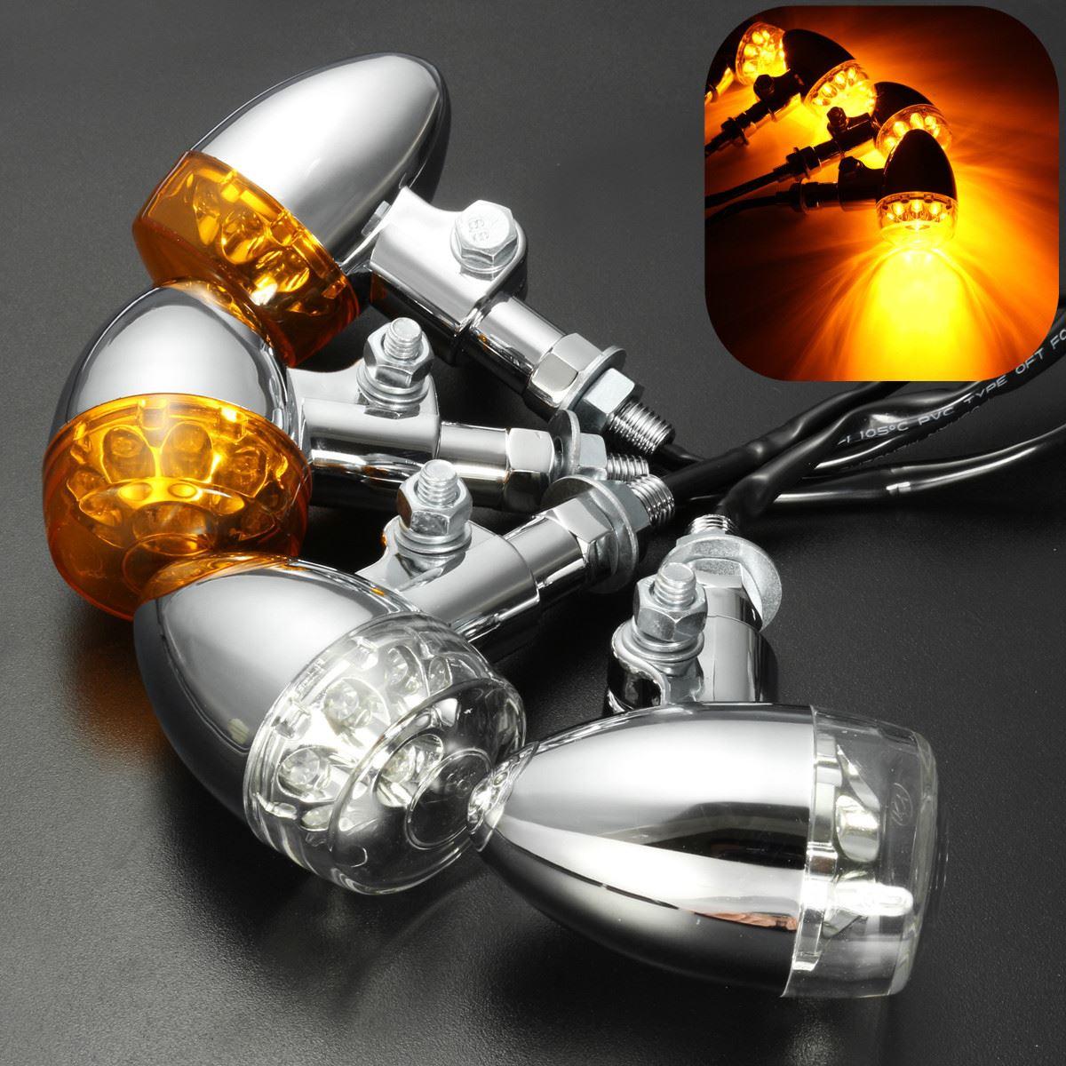 2PCS Motorcycle Flasher 9 LED Turn Signal Indicator Light For Harley Chopper Bobber Cruisers