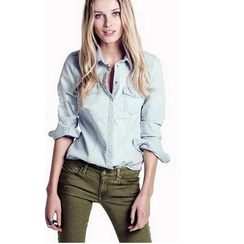 Hotsale European Women Denim Blouse Slim Jeans Shirt Elegant Quality Gradient Blouse Autumn Fashion Denim Jacket S-XXL 1233