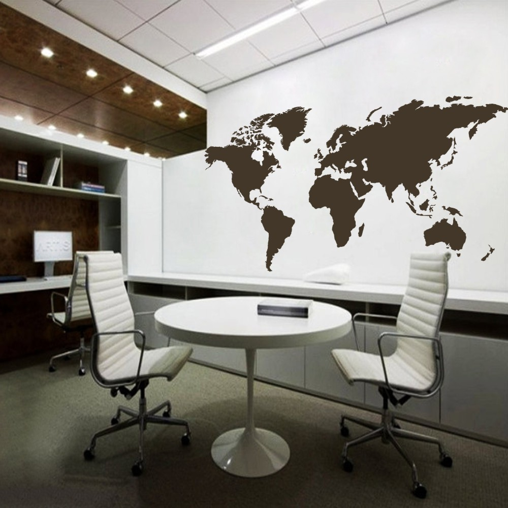 Atlas Decoration Us 44 24 World Map Wall Decal The Whole World Atlas Vinyl Wall Art Sticker Home Office Decor 64