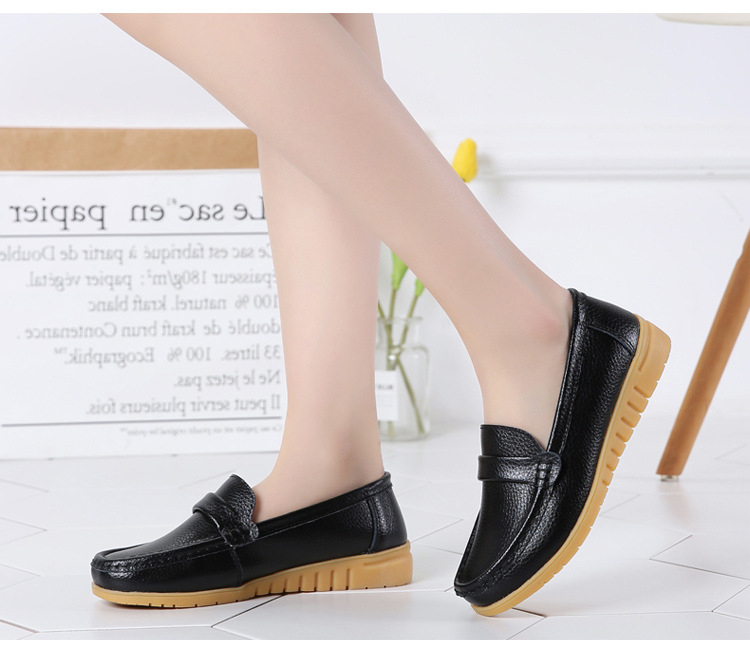 AH 2020-2019 Spring Autumn Women Loafers Genuine Leather Woman's Flats-7