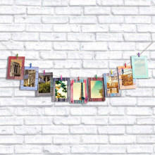 9pcs/lot Wood Grain Wall Paper Photo Frame 7 inches Home Decor Wall Picture Album Hanging Rope Wooden Clip Fast shipping(China)