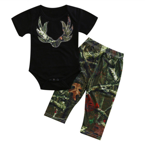 2pcs Newborn Baby Boy Camouflage Summer Clothes Short Sleeve Bodysuit Casual Pants Set Outfit 2018 New