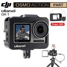 Ulanzi OA 1 Vlogging Lồng Kim Loại cho Máy Bay DJI Osmo Hành Động Vlog Ốp Lưng với Giày Lạnh cho Micro LED