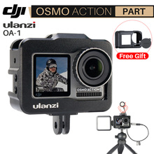 Ulanzi OA 1 Vlogging Metall Käfig Fall für Dji Osmo Action Vlog Fall mit Kalten Schuh für Mikrofon LED Licht
