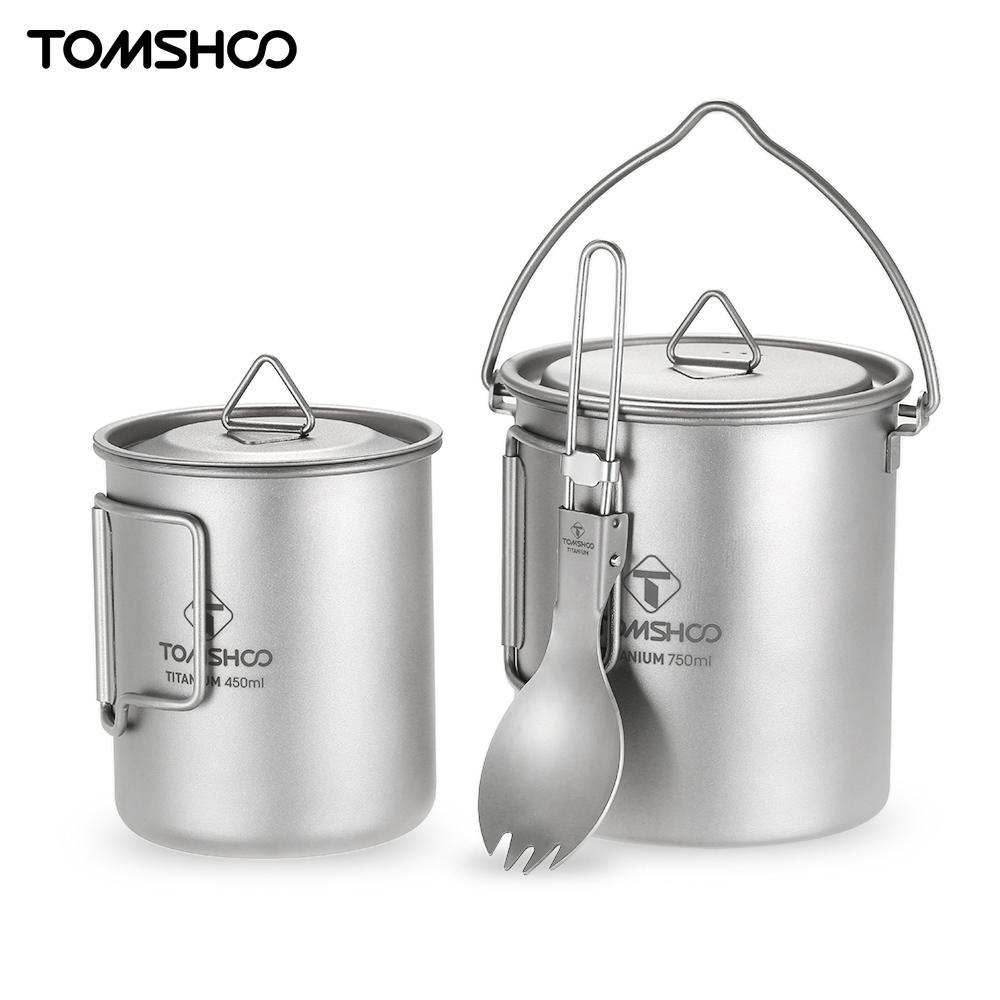 TOMSHOO Lightweight Titanium 3 Pieces Set Titanium 750ml Pot 450ml Water Cup Mug with Lid Collapsible
