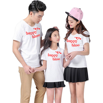Summer Fashion T Shirt Family Matching Clothes Happy Time Father Mom Daughter Son Casual T Shirt Outfits image