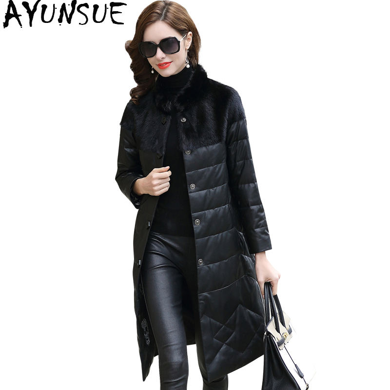 AYUNSUE Women Genuine Leather Jacket Winter Down Jackets Natural Mink Fur Collar 2019 Long Real Sheepskin Coat Female BT7300