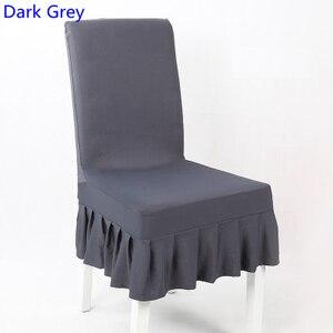 Чехол для стула из лайкры темно-серого цвета с юбочкой, полустильные чехлы для стульев из спандекса, чехлы для свадьбы, вечеринки, украшения ...